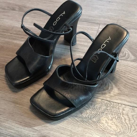 Black Aldo chunky heel leather sandal size 38